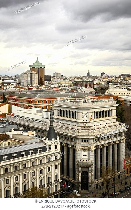 View of Madrid city with a cloudy sky