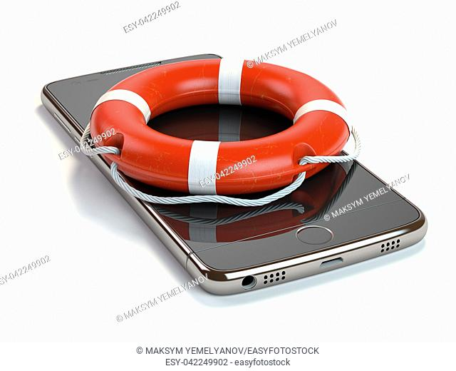 Smartphone with lifebelt isolated on white background. Mobile phone emergency service or support online concept. 3d illustration