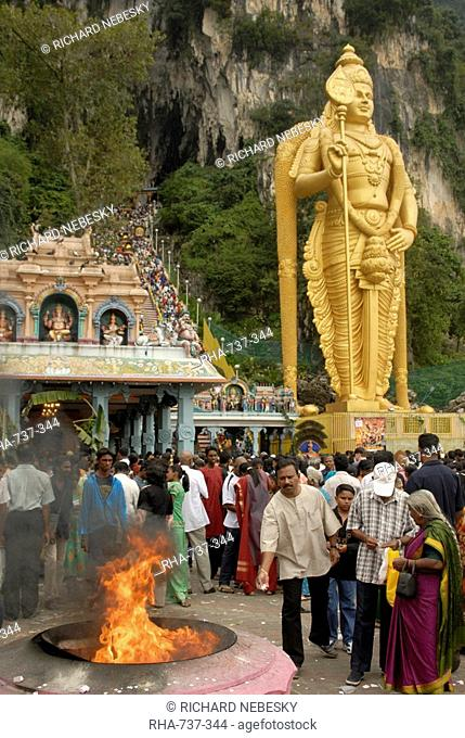 Pilgrims throwing offerings into holy fire during the Hindu Thaipusam Festival at Sri Subramaniyar Swami Temple, Batu Caves, Selangor, Malaysia, Southeast Asia