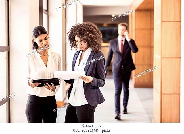 Young businesswomen reading paperwork in office corridor
