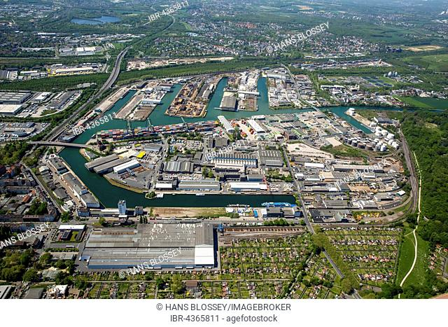 Aerial view, port of Dortmund, inland port, Dortmund-Ems Canal, container port, the Port of Dortmund AG, Dortmund, Ruhr district, North Rhine-Westphalia