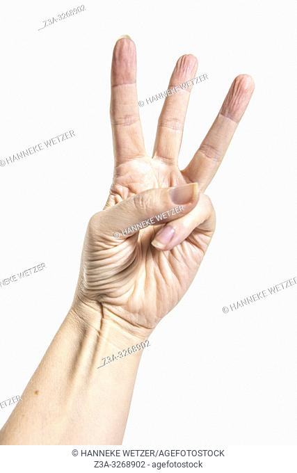 Hand counting from one to five as part of a series