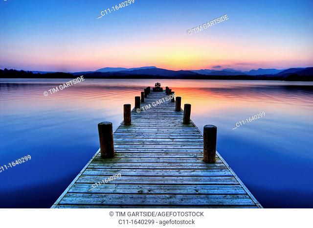 Jetty on Lake Windermere, cumbria, lake district ,england ,uk