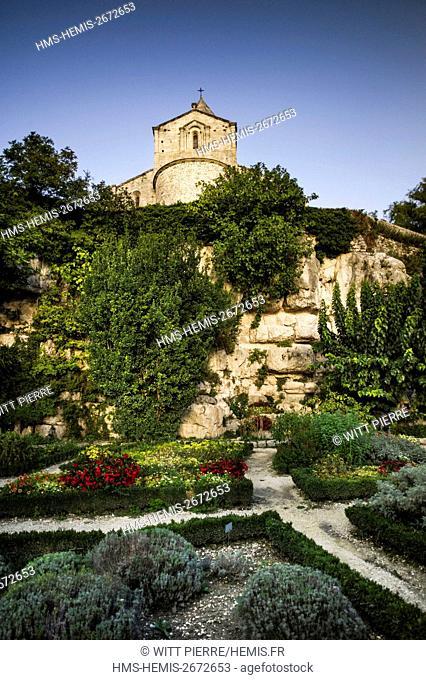 France, Drome, Provence, La Garde Adhemar, herbs garden, Saint Michel church in roman style from the 11th century