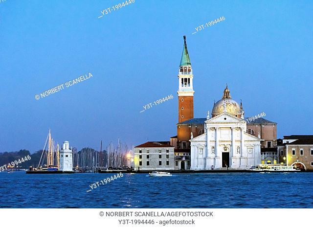 Europe, Italy, Veneto, Venice, classified as World Heritage by UNESCO. Church San Giorgio Maggiore at night