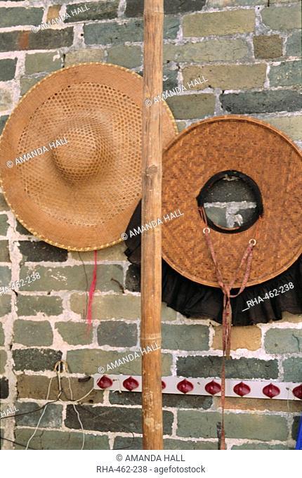 Samfoo straw hats, Hakka women's hats, Kam Tin, New Territories, Hong Kong, China, Asia