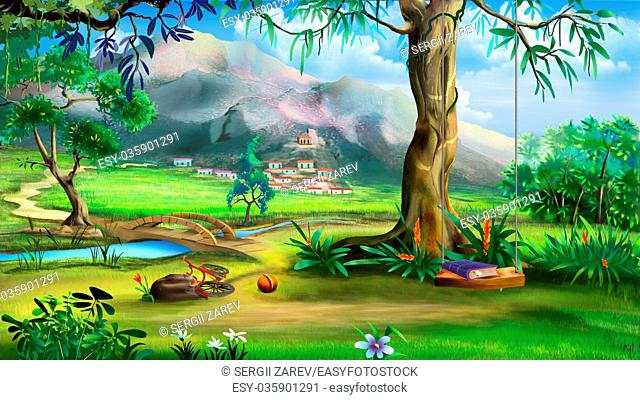 Fairy Tale Background with Swings and Small Bridge Over the River. Digital Painting, Illustration in cartoon style character