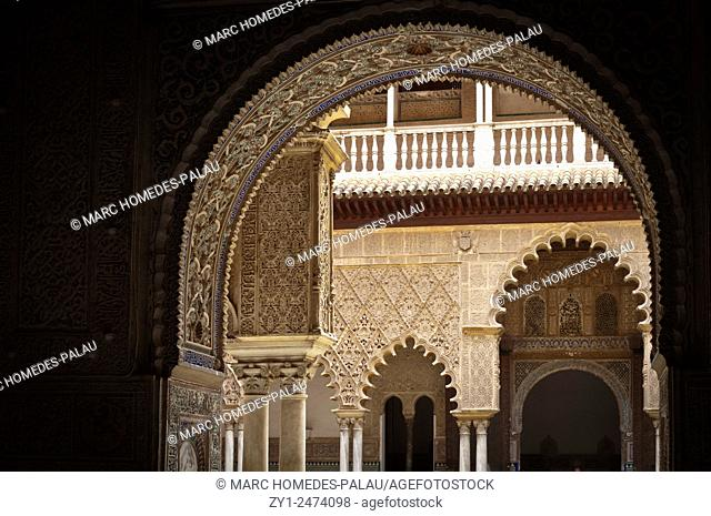 Interior view of rooms of the Alcazar palace (Seville)