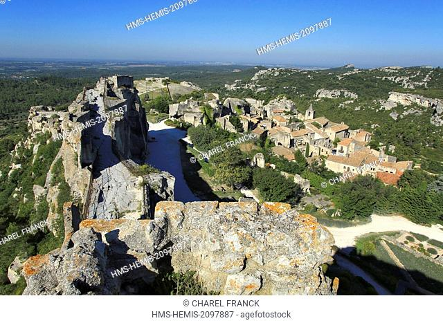 France, Bouches du Rhone, Les Baux de Provence, labeled Les Plus Beaux Villages de France (the Most Beautiful Villages of France), village seen from the castle