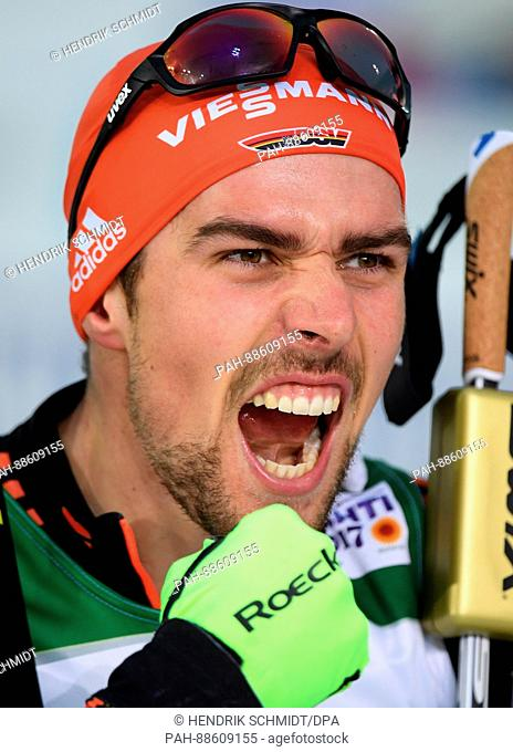 German Johannes Rydzek cheers his win at the Nordic Ski World Championship in Lahti, Finland, 01 March 2017. Photo: Hendrik Schmidt/dpa-Zentralbild/dpa | usage...