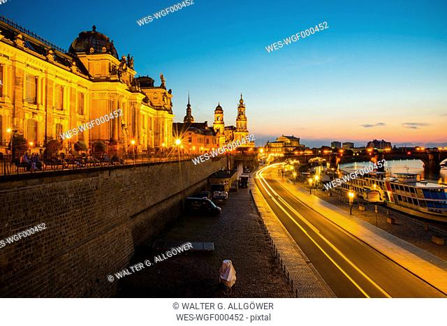 Germany, Saxony, Dresden, View to Elbe river and skyline at sunset
