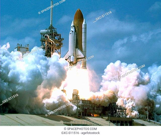 04/17/1998 --- The Space Shuttle Columbia soars from Launch Pad 39B at 2:19 p.m. EDT Apr. 17 to begin the nearly 17-day STS-90 Neurolab mission