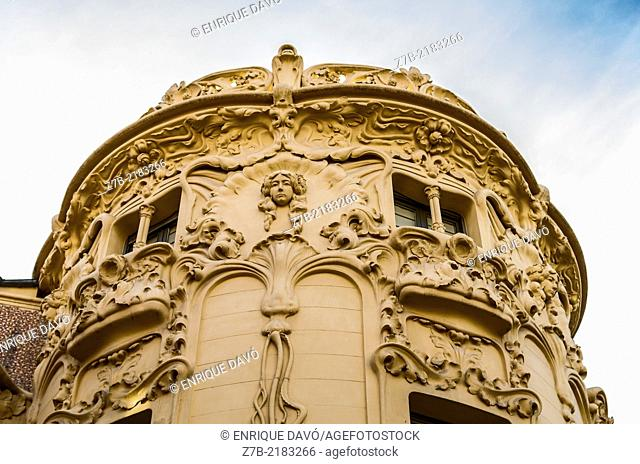 View of the round roof of Author Society building in Madrid city, Spain
