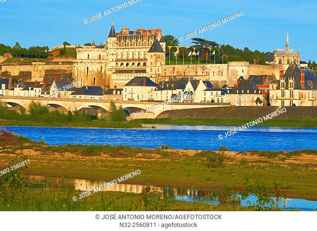 Amboise, Castle, Chateau de Amboise, Amboise Castle. Sunset, Indre et Loire, Loire Valley, Loire River, Val de Loire, UNESCO World Heritage Site, France