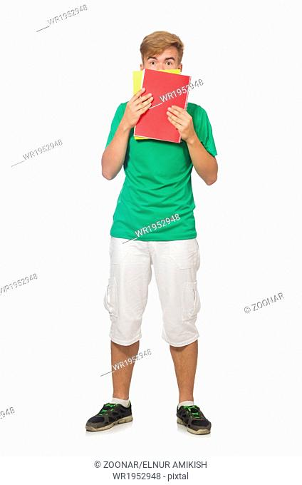 Student with textbooks isolated on the white
