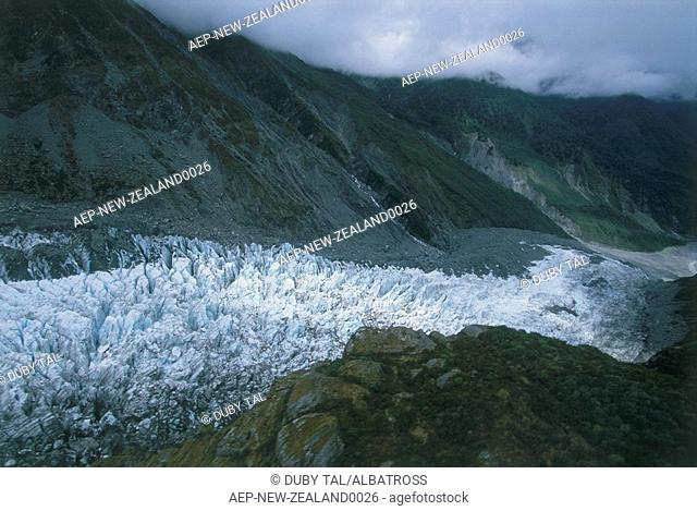 Aerial photograph of a glacier in New Zealand