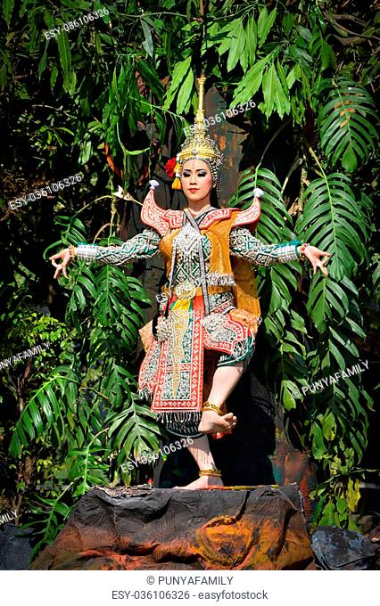 Khone Show beauty womam and traditional costume in a drama Ramayana epic