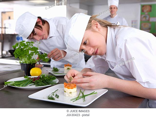 Trainee chef's working together in commercial kitchen