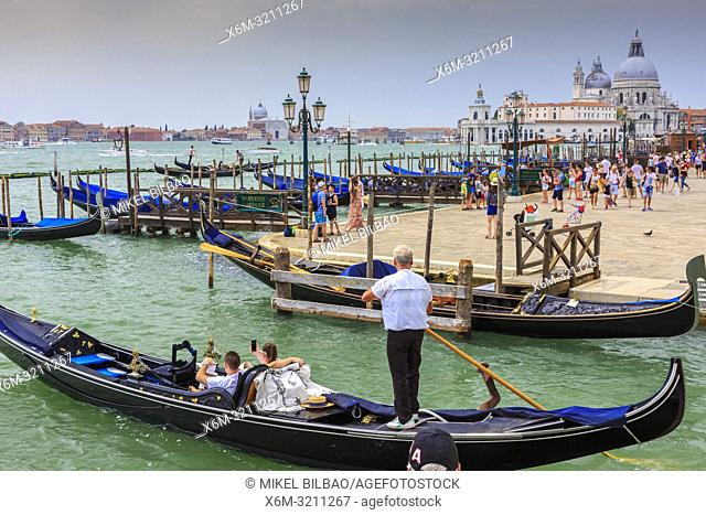Gondolas in St Mark's Square pier. Venice, Italy. Europe