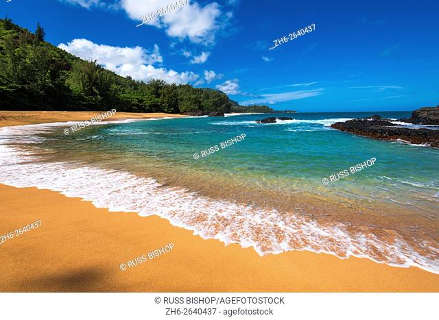 Sand And Surf At Lumahai Beach Island Of Kauai Hawaii