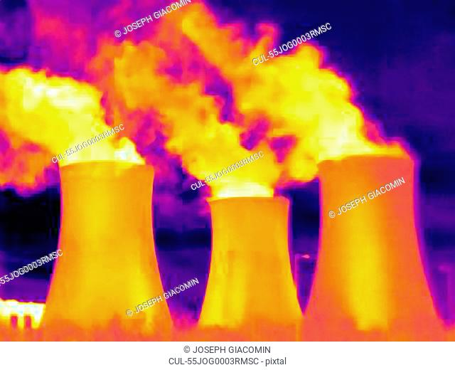 Thermal image of power station cooling towers