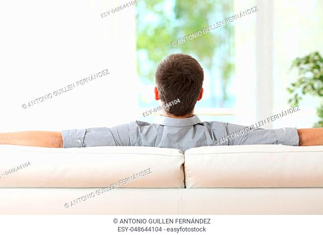 Rear view of a man relaxing sitting on a sofa at home and looking outdoors through the window at home