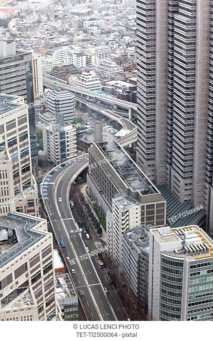 Buildings and highways in Tokyo Japan