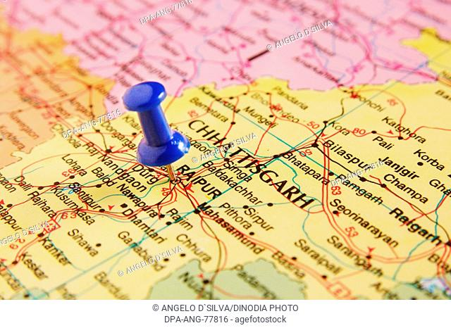 Map of India , Spotted Raipur Capital of Chatisgarh by Blue colored Board Pin