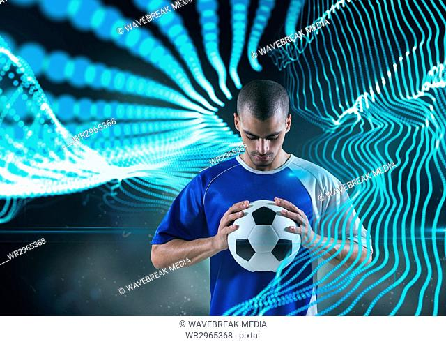soccer player with ball with blue lights