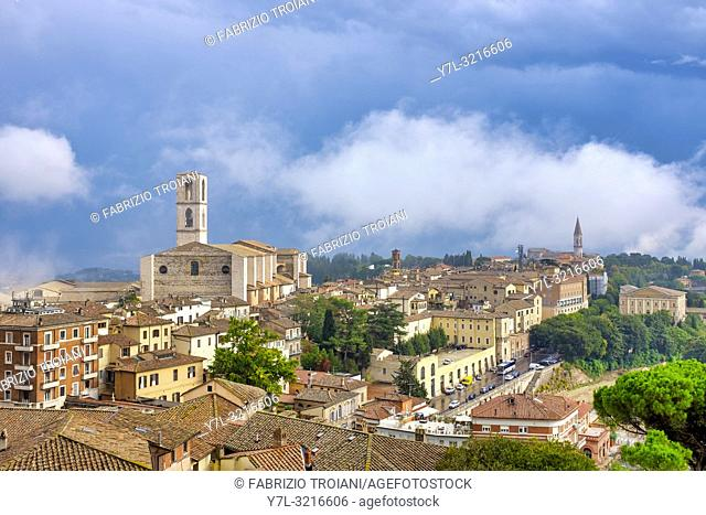 Basilica of San Domenico from Via Indipendenza, Perugia Italy