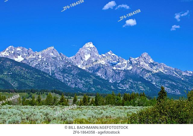 Grand Tetons Mountain range in beautiful Jackson Hole Wyoming with natural beauty everywhere
