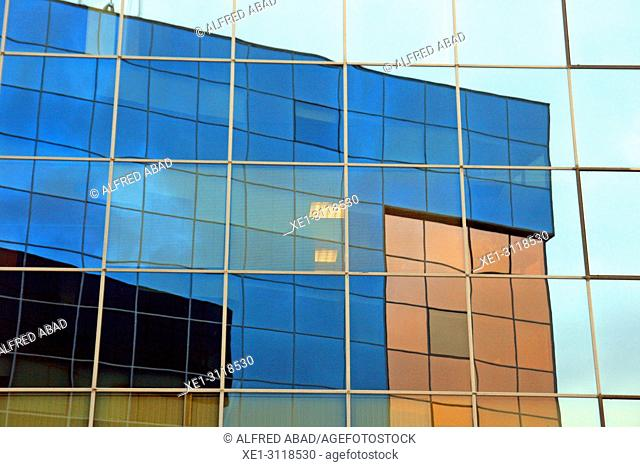 reflections, glass windows, Fuerte del Principe building, Pamplona, Navarra, Spain