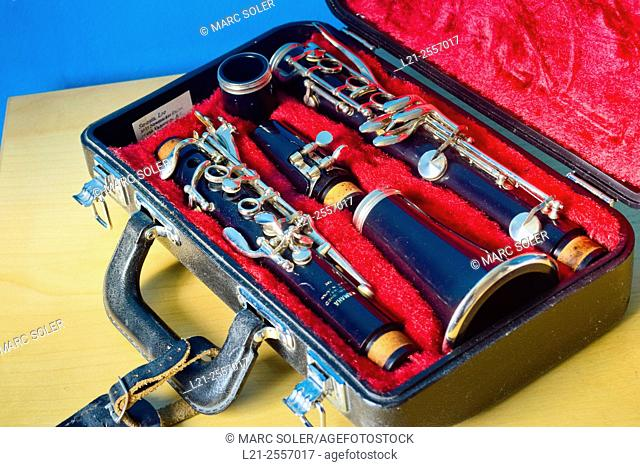 Clarinet in its case. Musical instrument, music