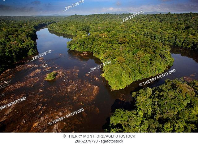 """""""""""Saut Athanase"""" on the Approuague river. Dry season. French Guiana"