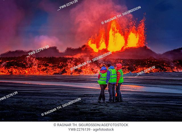 Glowing lava from the eruption at the Holuhraun Fissure, near the Bardarbunga Volcano, Iceland. August 29, 2014 a fissure eruption started in Holuhraun at the...