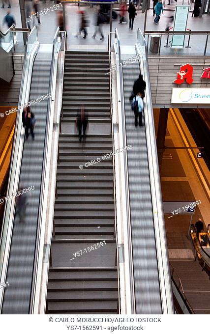 Escalators in the Berlin Hauptbahnhof, the main railway station in Berlin, Germany, Europe