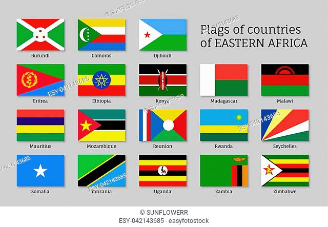 Eastern Africa flags icons set, regions and territories, geography or geopolitics poster, educational card. Flat style vector illustration on gray background