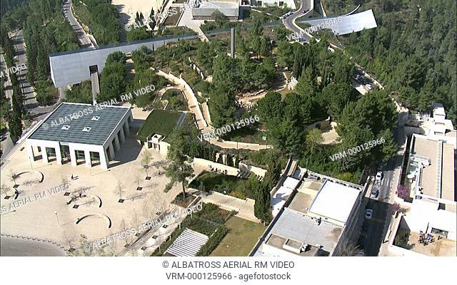 Footage of a monument in Yad Vashem museum in the new city of Jerusalem. Designed by architect Mose Safdie