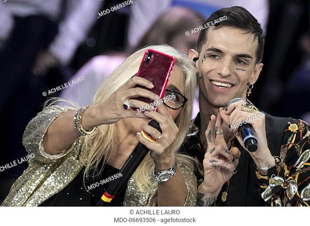 Italian tv host Mara Venier and italian singer Achille Lauro made a selfie during the episode of Domenica In dedicated to 69th Sanremo Music Festival