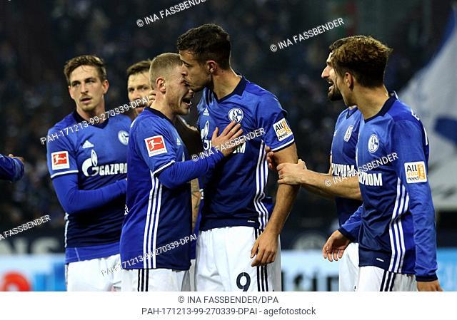 Schalke's Max Meyer and Franco Di Santo (C) celebrate the 1-0 against Augsburg during the German Bundesliga soccer match between FC Schalke 04 and FC Augsburg...