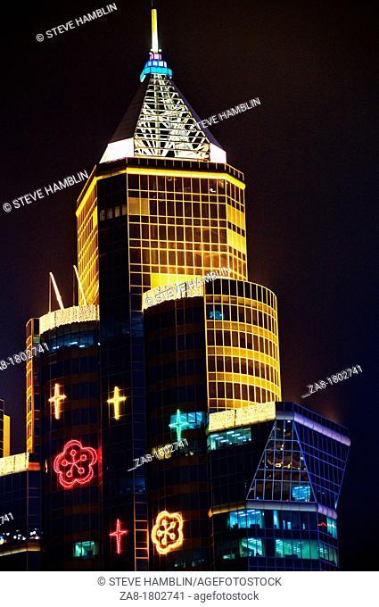 View of skyscraper in Hong Kong China at night