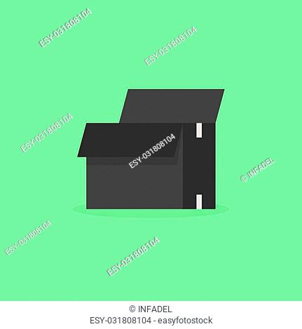 opened black box isolated on olive background. concept of packing materials, distribution, warehouse, moving company and shipment order