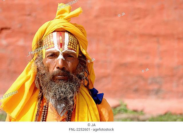 Portrait of sadhu wearing turban, Katmandu, Nepal