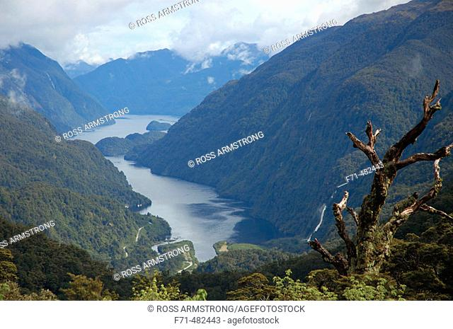View into Deep Cove from Wilmount Pass. Doubtful Sound. Fiordland National Park. New Zealand