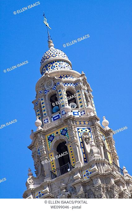 Tiled dome tower above Museum of Man in Balboa Park San Diego