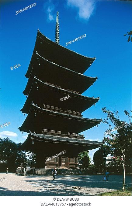 Japan - Kansai - Kyoto. Toji Buddhist Temple (official name Kyo-o-gokokuji temple). Five-story pagoda