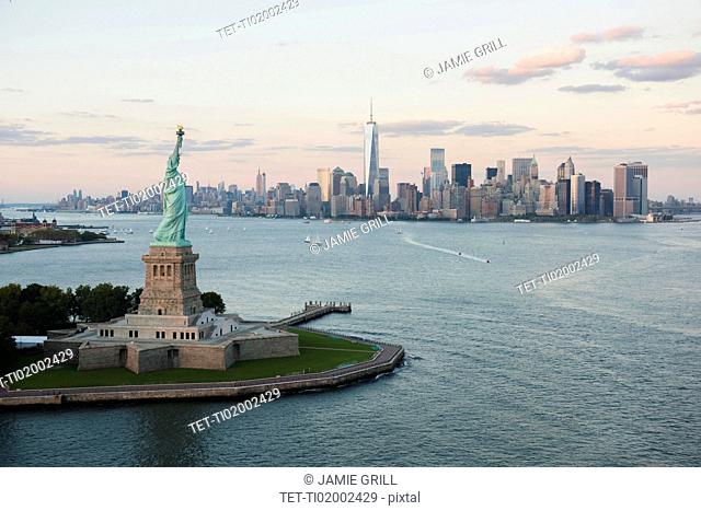 Aerial view of Statue of Liberty and city skyline