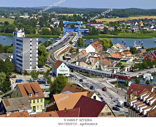 Bascule bridge over the Peene river, Wolgast, Mecklenburg-Western Pomerania, Germany