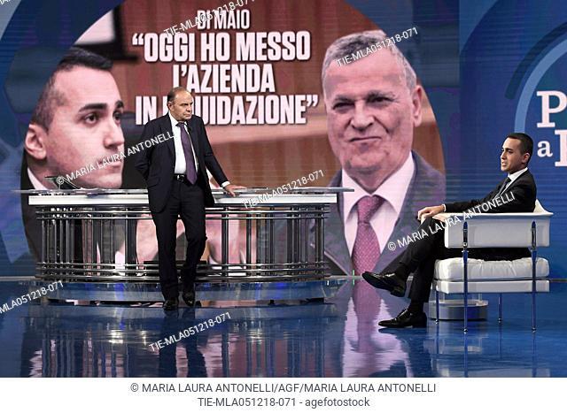 Journalist Bruno Vespa, Italian Deputy Prime Minister and Minister of Economic Development Luigi Di Maio during the tv show Porta a porta in Rome