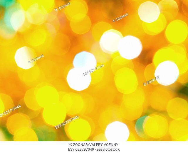 bright yellow green shimmering Christmas lights
